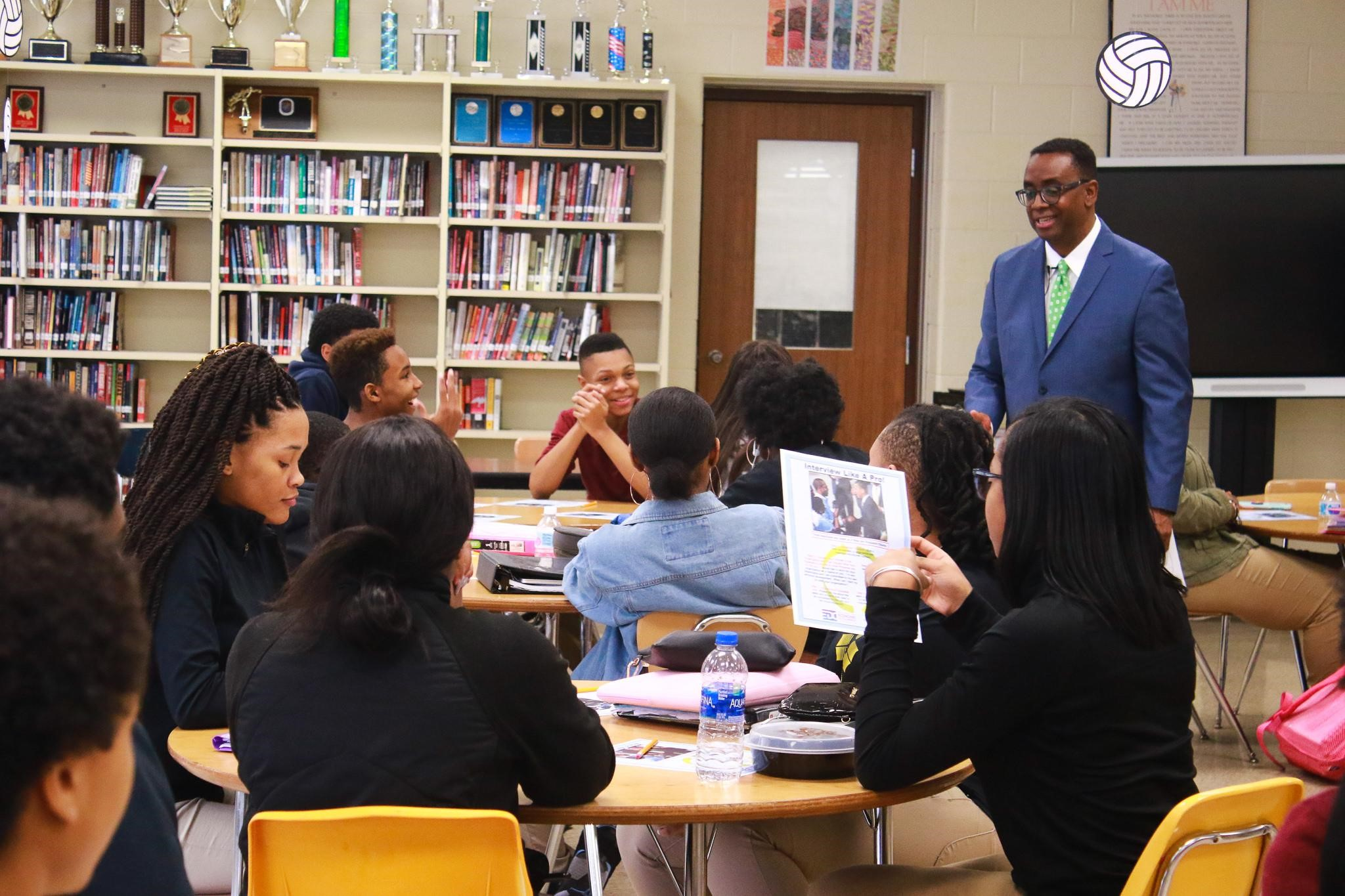 Jim Coleman, President, Prince George's County Economic Development Corporation, hosts a workshop for P-TECH students.
